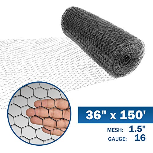 Fencer Wire 16 Gauge Black Vinyl Coated Hex / Poultry Netting Mesh 1.5