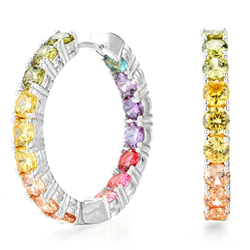 NYC Sterling Womens .925 Silver 4MM Rainbow Cubic Zirconia In and Out Hoop Earrings