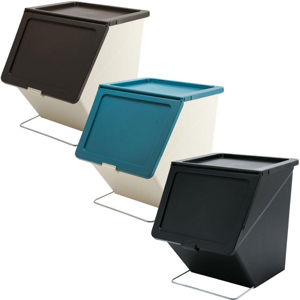 スタックストー ペリカン ガービー 38L 全6色の中から選べる3個セット ゴミ箱 ごみ箱 ダストボックス おしゃれ ふた付き stacksto pelican (ブラウン×ブルー×ブラック) B075947GKN ブラウン×ブルー×ブラック ブラウン×ブルー×ブラック