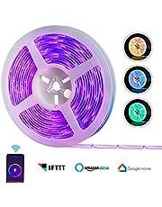 Tiras de LED, REAFOO WiFi Tira LED impermeable 5M 5050 300LED, aplicación de teléfono inteligente multicolor, Cinta Tira LED inteligente RGB con Alexa, Hogar de Google para el hogar