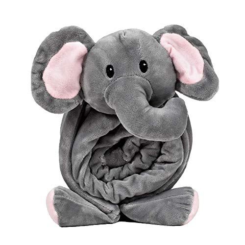 """SNUGGIES Elephant Stuffed Animal Blanket & Cuddly Pillow 2-in-1 Combo – Super Soft and Baby Elephant Blanket 37"""" x 30"""" and Zoo Plush Toy 14"""" x 8"""" – Perfect Unisex Baby Shower Gift ()"""