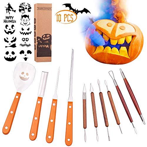 Pumpkin Carving Tools,10 PCS Halloween Pumpkin Carving Kit Stainless Steel Set Professional,DIY Pumpkin Decorating Kit for Kids and Adults,Wood Pumpkin Cut Out, Pumpkin Cutting Knife Tools 10 Stencils