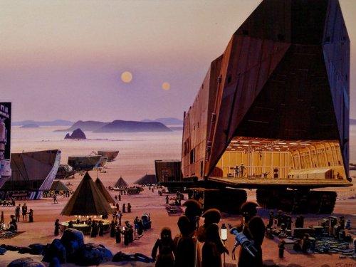 Jawa Vinyl (Sandcrawler Jawas Tatooine Painting Star Wars 32x24 Print Poster)