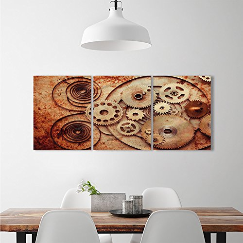 l stickers Mechanical Clocks Details Old Rusty Metal Backdrop Gears Steampunk DesignTriple Art Stickers Dark Orange Peach (Mechanical Copper Clock)
