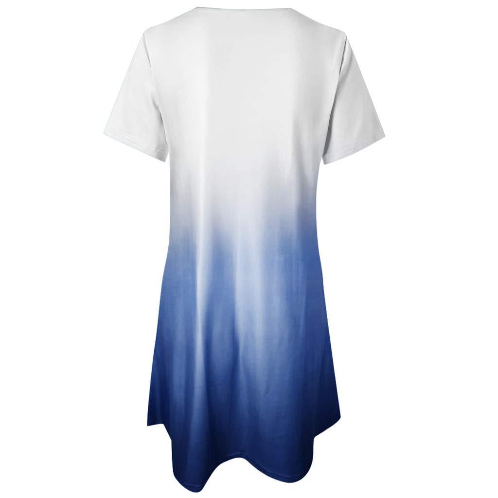 Funnygals Womens Casual Summer Gradient Loose Short Sleeve Crew Neck Tops Blosues Beach Mini Dress A-Line Dresses
