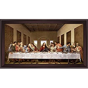 The Last Supper by Leonardo Da Vinci Framed Art Print Wall Picture, Wide Cherry Frame with Hanging Cleat, 44 x 25 inches