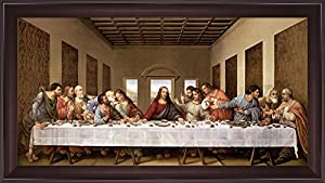 the last supper by leonardo da vinci framed art print wall picture wide cherry frame with hanging cleat 44 x 25 inches