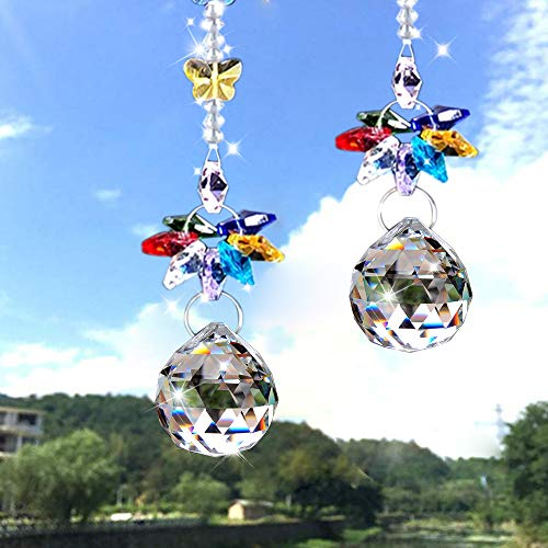SunAngel Colorful Jewelry Crystals Pendants &Chandelier Suncatchers Prisms Hanging Ornament Octogon Chakra Crystal Pendants for Home,Office,Garden Decoration (Yellow)