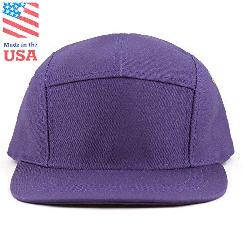 THE HAT DEPOT Cotton Twill 5 Panel Flat Brim Genuine Leather Brass Biker  Board Cap ddfc907d0b