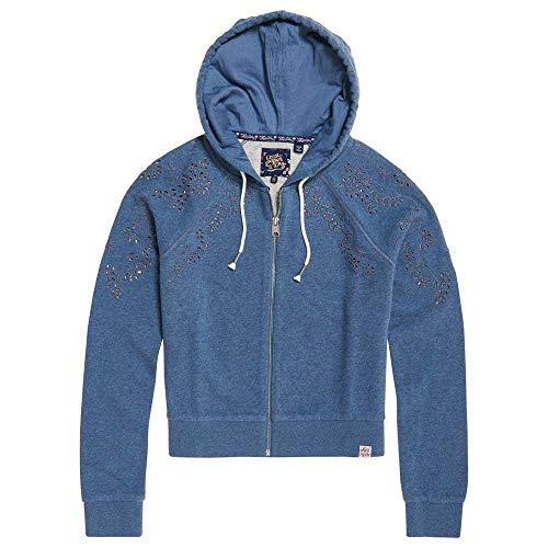 Ivy Burnt Sweatshirts Female Broidery And Superdry Hoodies Xs Marl Blue Ziphood qZpw4wtx