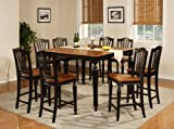 9 PC Counter Height Dining Room Set Table 8 Wood Seat Stools