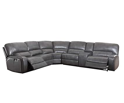 High Quality Acme Furniture 53745 Saul Sectional Sofa With Power Recliners And USB Dock, Gray  Leather