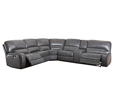 ACME Furniture Saul Sectional Sofa with Power Recliners and USB Dock, Gray Leather-Aire