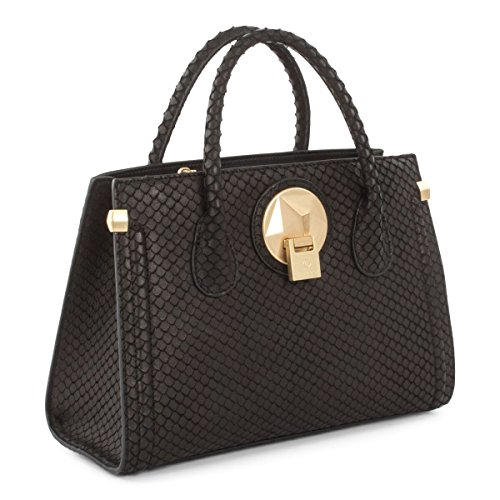 Céline Dion Octave Leather Satchel (Black Snake)