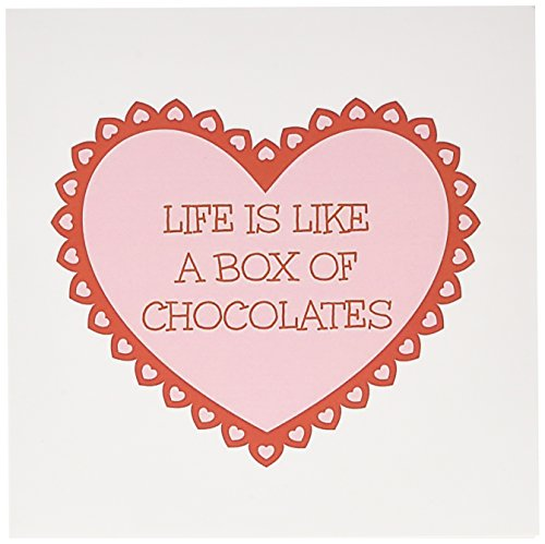3dRose Life is Like a Box of Chocolates Red Letters on a Pink Heart Picture Greeting Cards, Set of 12 (gc_172427_2)