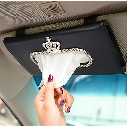 Alusbell Crown Crystal Auto Sun Visor Tissue Box Holder PU Leather Bling Bling Car Interior Accessories Paper Towel Storage Bag (Black)