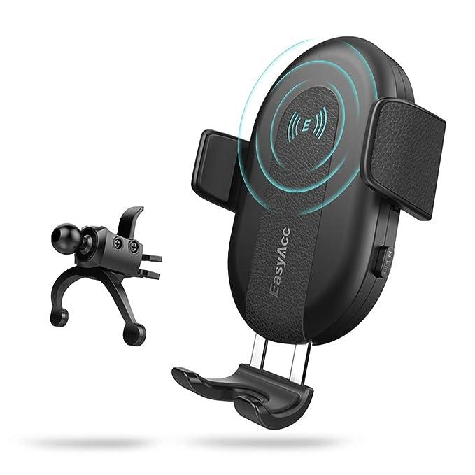 EasyAcc Cargador de Coche Inalámbrico Soporte de Teléfono para iPhone XS Max XR X 8 Plus, Qi Cargador Inductivo para S10 S10+ S9 S8 y otros Teléfonos ...
