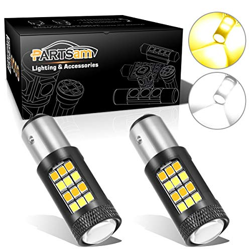 Partsam 1157 2057A White/Amber LED Bulbs 30W 42 Chip Dual Color Front Turn Signal Switchback LED Light Bulbs (2pcs/Set)