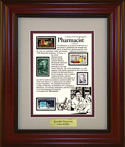 American Stamp Art by Creative Framing Pharmacist - Unique Framed Collectible (A Great Gift Idea) with Personalized Engraved Plate by American Stamp Art by Creative Framing