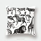 Custom Satin Pillowcase Protector Africa Wildlife Fauna Illustrations Vintage Animal Clipart_184939387 Pillow Case Covers Decorative
