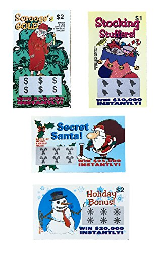 100 Fake Holiday Themed Lottery Tickets-Each One a