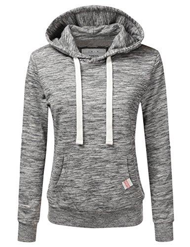NINEXIS Womens Long Sleeve Fleece Pullover Hoodie Sweatshirts MARLEDCHARCOAL M