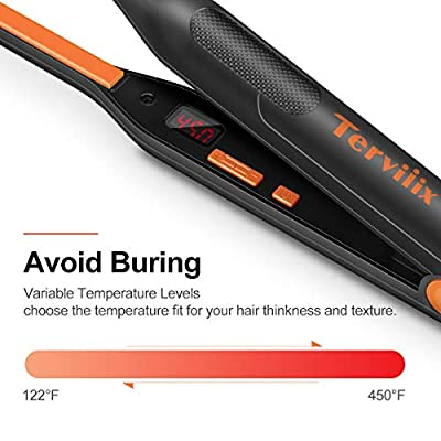 Terviiix Small Flat Iron for Short Hair, Temperature Adjustable Mini Hair Straightener Fast Heat Up, 3/10 Inch Beard Straightening Iron Dual Voltage with Tourmaline Ceramic Plates, Auto Shut Off