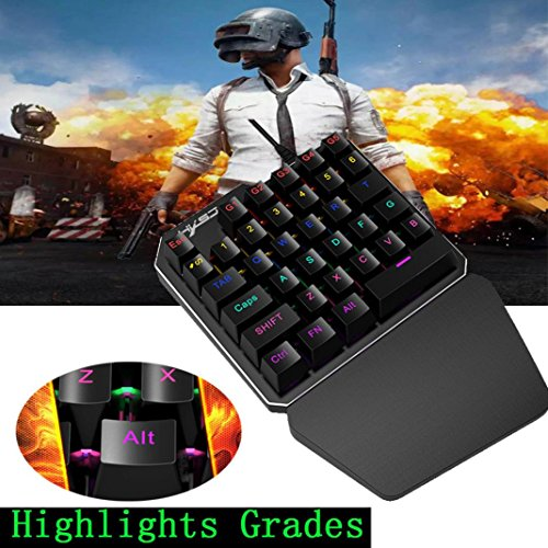 Price comparison product image HXSJ J100 One-hand 35 Keys Wired USB Gaming Mechanical keyboard Keypad for PUBG Durable