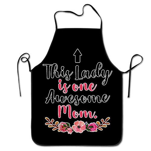 This Lady Is One Awesome Mom Kitchen Apron Part Cooking Baking Garden Chef Restaurant BBQ Sexy Apron Bib For Women ()