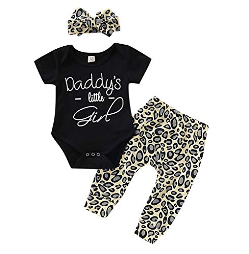 Inflant Baby Girl Leopard Outfit Long Sleeve My Aunt Says Yes Shirts Tops Long Pants Heaband Clothes (6-12 Months, Short Sleeve Black)