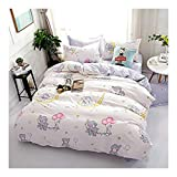 Bed Set Beddingset Duvet Cover Set Duvet Cover No Comforter Flat Sheet Two Pillowcases 4pcs Panther Elephant Flaminggo Design KY Full Size for Kids Sheet Sets (Elephant Balloon, Pink, Full,70'x86')