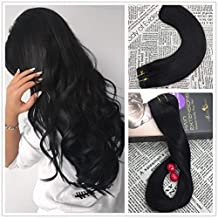 Moresoo 18 Inch Extension Clip in Human Hair Extension Double Weft Clip in Hair Extensions 120 Grams 7 Pieces #1 Jet Black Straight Hair Extensions Clip in