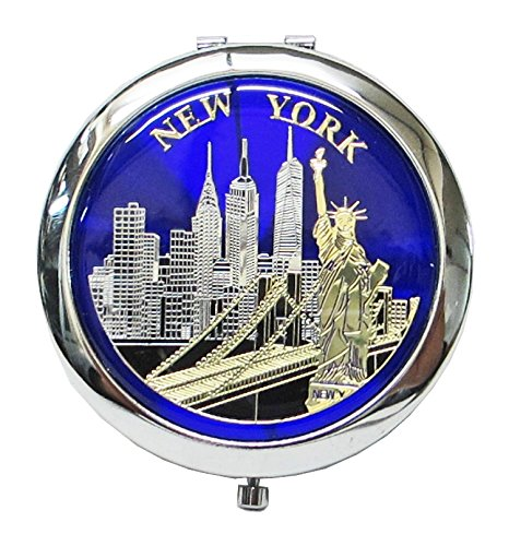 New York Souvenir Cosmetic Compact Stainless Steel Travel Mirror - Manhattan 5th Avenue Stores