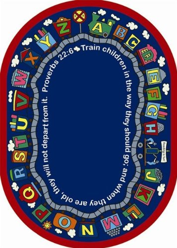 Faith Based Bible Train Kids Rug Rug Size: Oval 7'8'' x 10'9'' by Joy Carpets
