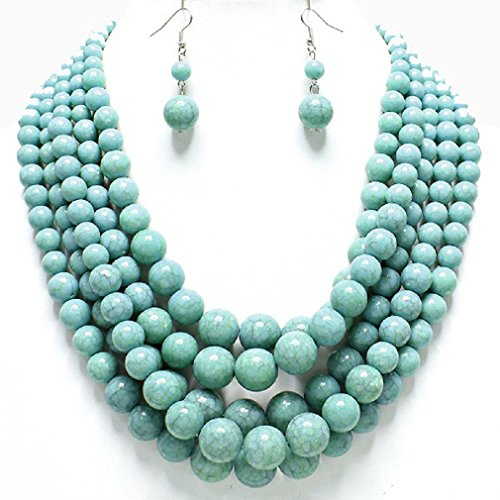 [Statement Layered Strands Turquoise Stone-simulated Pearl Beads Necklace Earrings Set Gift Bijoux] (Affordable Costumes)