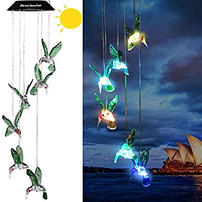 Eleven Direction Solar Wind Chimes,Color Changing Hummingbird/Crystal Solar Lights,Decoration for Lawn,Patio,Yard,Garden,Bedroom,Outdoor