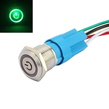 SENZEAL Power Symbol Latching Push Button Switch On Off Stainless Steel 12V LED Angel Eye Head for 16mm 0.63 Mounting Hole Green