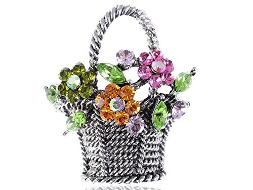 - Alilang Gunmetal Tone Sparkly Pink Topaz Green Crystal Rhinestones Spring Floral Square Basket Brooch Pin