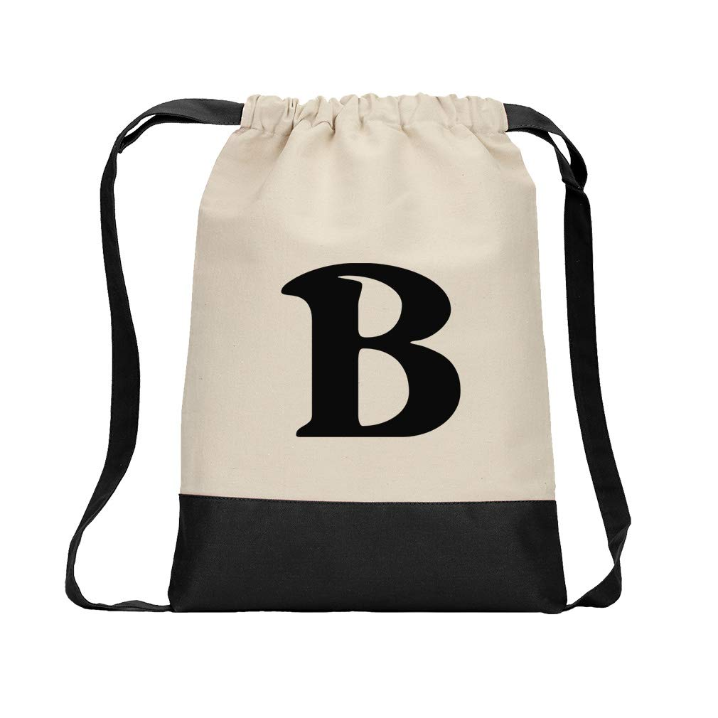 ''B'' Casual Initial Monogram Letter B Cotton Canvas Color Drawstring Bag Backpack - Black