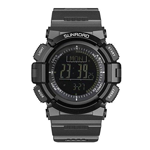 Sunroad fr821bスポーツwatch-altimeterコンパスストップウォッチ釣りバロメーター歩数計腕時計多機能 B07B8RB7GC