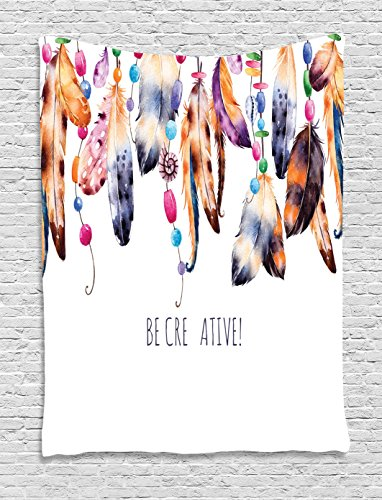 Ambesonne Collection Creative Watercolor Feathers