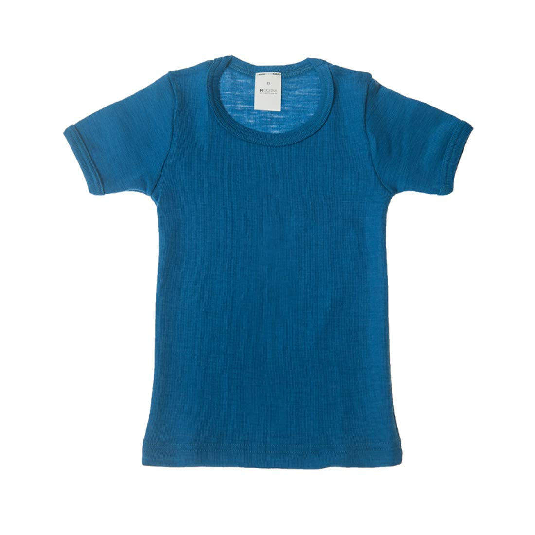 Hocosa of Switzerland Little Kids Organic Wool Short-Sleeved Undershirt, Solid Blue, s.92/2 yr by Hocosa of Switzerland