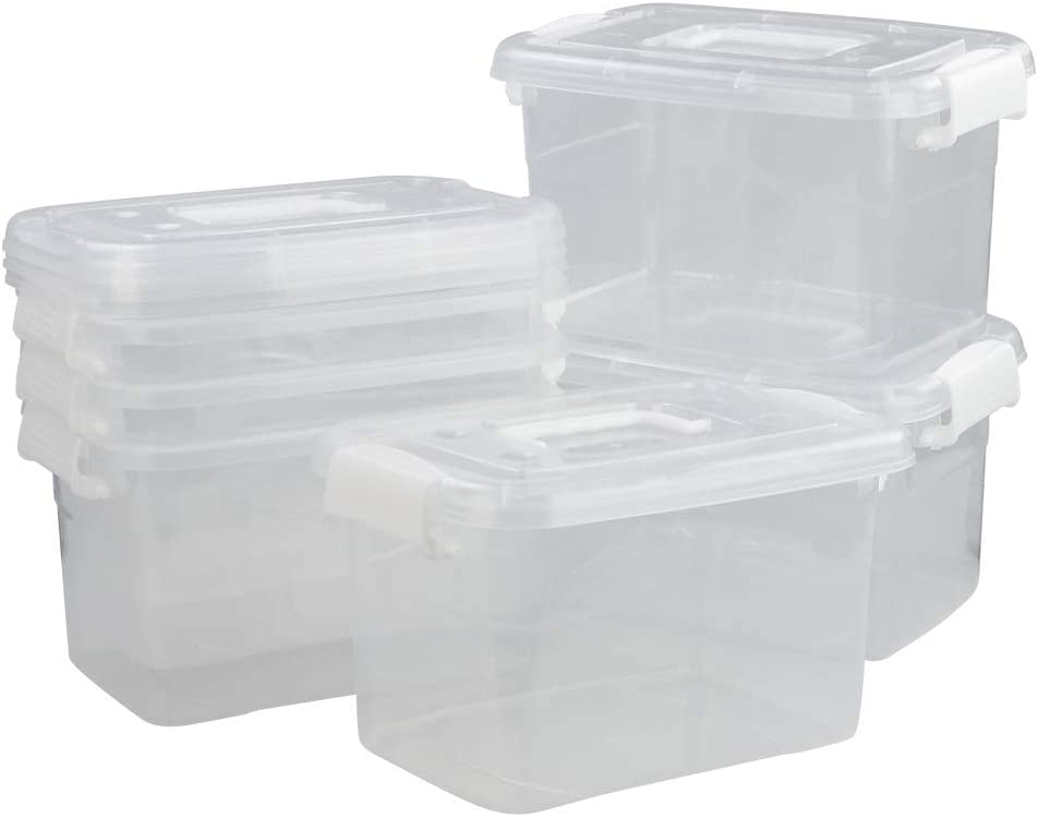 DynkoNA Stackable Boxes with Lids, Plastic Latching Storage Containers, Set of 6