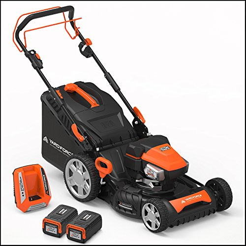 """Yard Force 120vRX Lithium-Ion 22"""" Self-Propelled 3-in-1 Mower with Torque-Sense Cutting Control - COMPLETE with 2 Batteries and Fast Charger included"""