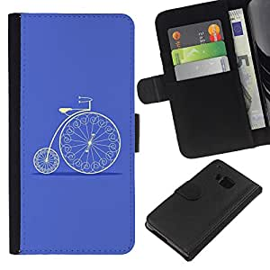 Leather Etui en cuir || HTC One M9 || Bicicleta del vintage azul Velo Hobby @XPTECH