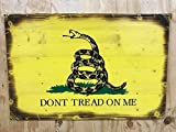 Wooden Rustic Style Gadsden Flag; 16''x24'' (Don't Tread On Me)