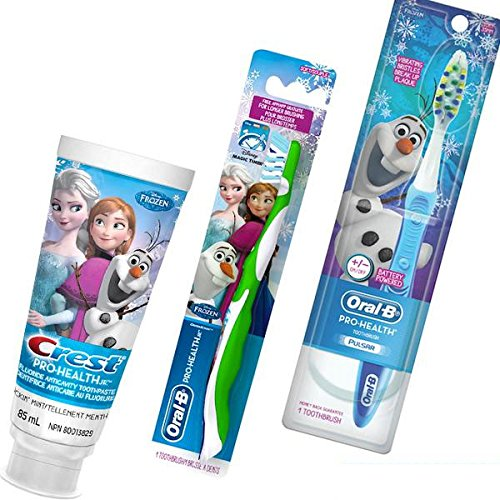 Disney Frozen 3pc Bright Smile Collection! (1) Battery Powered Turbo Toothbrush With Vibrating Bristles (1) Olaf Soft Manual Toothbrush Plus Bonus Disney Frozen Crest Pro Health Jr. Fluoride Anticavity Toothpaste! (Jr Kids Toothbrush)