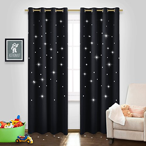 Block Out Curtains with Die-cut Stars - NICETOWN Starry Night Sleep-Enhancing Cosmic Themed Twinkle Drapes for Baby Nursery, Draft Blocking Draperies (Set of 2, W52 x L84, (Cut Outs Set)