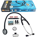 Vorfreude Cardiology II Stethoscope Lifetime Replacement Guarantee (27'' Black) Bonus: Name Tag, Classic Pupil Pen Light, Batteries, Spare Diaphragm and 6 Eartips. Total Qty 1