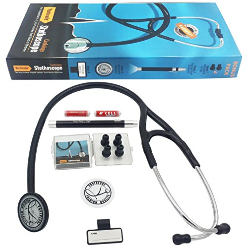Vorfreude Cardiology II Stethoscope Lifetime Replacement Guarantee (27' Black) Bonus: Name Tag, Classic Pupil Pen Light, Batteries, Spare Diaphragm and 6 Eartips. Total Qty 1
